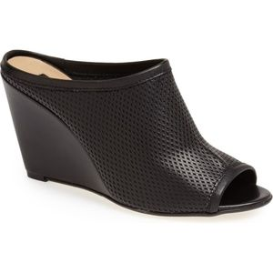 Topshop Waltz Perforated Leather Open Toe Mule
